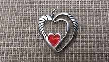 LOVE 1 HEART PENDANT MEDALLION W/ RED EPOXY HEART All New.