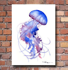 Purple Jellyfish Art Print Watercolor Painting Colorful Wall Decor