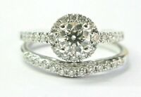 Round Diamond Halo Engagement/Wedding Set Rings 1.03Ct I-VS2 AGS BEN BRIDGE