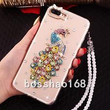 Glitter Crystal Bling Rhinestone Diamonds Soft Gel TPU Case Cover With strap #A