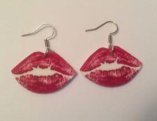 Lips Kiss Lipstick Valentines Day  Earrings HANDMADE PLASTIC CHARMS Love Cute