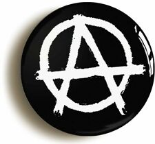 ANARCHY PUNK BADGE BUTTON PIN BLACK (Size is 1inch/25mm diameter)