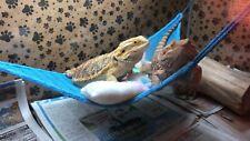 New listing Blue Lrg Attachable Soft Resting Hammocks /Pillow & Blanket 4 Bearded Dragons
