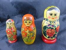 3 x Schöne Alte Matroschka, Matruschka, Babuschka Made in USSR RARE