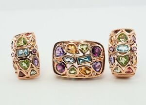 Earrings Ring Set Citrine Amethyst 14K Rose Gold Peridot Aquamarine