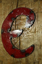 "Reclaimed Metal Industrial LETTER E 1"" thick 3D TIN Sign COLORED 8 1/2 Inch Tall"