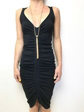 WILLOW black sleeveless stretch knit dress body con sz 10 ruched front crepe