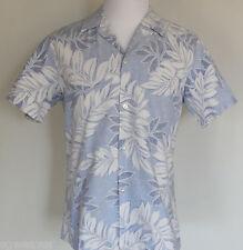 Vtg Men's Large Rai Nani Blue & White Cotton Reverse Print Aloha Hawaiian Shirt