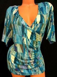 Dana buchman blue abstract print spandex stretch cowl neck short sleeve top PXL