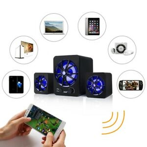 Subwoofer USB Wired Computer Speakers LED Bass Stereo Player For Laptop PC R4H2