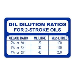 Oil Petrol Mix Ratio 2 Stroke Sticker 2T for Yamaha, Husqvarna, Sherco