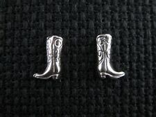 COWBOY BOOTS .925 Sterling Silver Post Earrings - FREE SHIPPING & Gift Box!