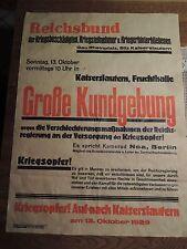 Plakat Reichsbund der Kriegsbeschädigten Kriegsteilnehmer v 1929 Kaiserslautern