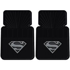 2Pc Superman Silver Front Rubber Universal Car Floor Mats