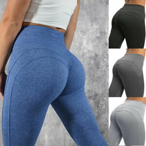 Womens Push Up Yoga Leggings Sports Pants High Waist Stretch Ruched Gym Fitness