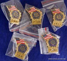 LOT OF FIVE 9-11 MEMORIAL POLICE DETECTIVE MINI BADGE PINS