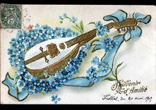 INSTRUMENT de MUSIQUE / MANDOLINE en FLEURS MIOSOTIS Gaufrée avant 1904