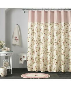 NEW PIPER & WRIGHT ROSALIE PINK  FLORAL ROSES FABRIC SHOWER CURTAIN
