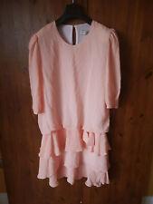 VINTAGE BOHO DRESS Pastel Orange Peach Shift Boho Ruffle Hem UK 18 / 46 - VGC