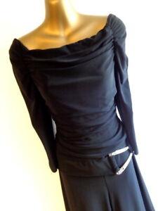 Joseph Ribkoff UK12 Jumpsuit in Black off the shoulder wide leg STUNNING (2482