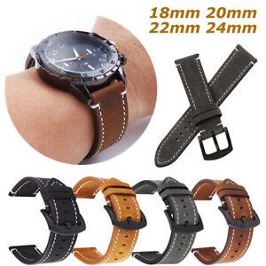 Men's Genuine Leather Watch Strap Soft Band Black Brown Grey 18mm/20mm/22mm/24mm