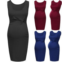 Women Pregnancy Maternity Summer Casual Party Solid Tunic Vest Sleeveless Dress