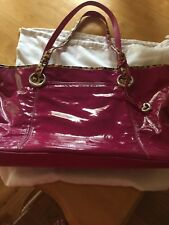"Berry-Colored Brighton ""AUSTIN"" Patent Leather XL Tote w/Cheetah Trim - NWOT"