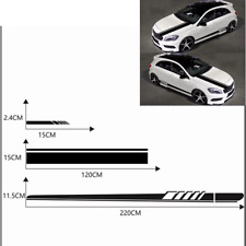 5pcs/Set Racing Hood Body Stripe Car Sticker Auto Side Skirt Decal Black Vinyl