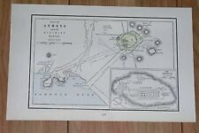 1890 ANTIQUE MAP OF THE CITY OF ANCIENT ATHENS / ACROPOLIS / ANCIENT GREECE