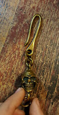 Bronze Skull Hook For Chain And Keys Brass Wallet Biker Rock Key Ring