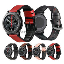 22mm Rubber Hybrid Leather Watch Band Strap For Samsung Gear S3 Classic Frontier