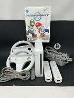 Nintendo Wii Console Bundle-Mario Kart 2 Wheels 2 Controllers Tested