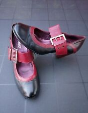 LADIES GABOR  BLACK / DARK RED burgundy SHOES  MARY JANES UK SIZE 4.5 EUR 37.5