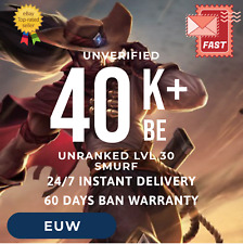 EUW League of Legends LOL Account Smurf 40000+ BE Unranked Level 30 *Cheapest*