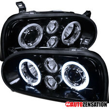 93-98 VW Golf Cabrio MK3 Glossy Black Halo Projector Fog DRL Headlights