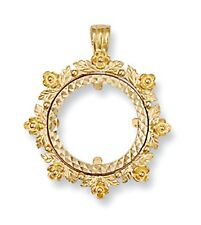 9ct Gold Floral style Half Sovereign Coin Pendant Mount 3.4g