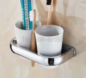 Chrome Brass Wall Mounted Bathroom Double Ceramic Cup Toothbrush Holder fba836