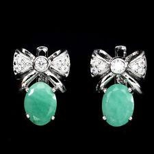 Ohrringe Schleife Smaragd & CZ 925 Silber 585 Weißgold