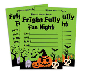 Halloween 28 Pcs Fill or Write In Blank Invites Printable Party Supplies-DS-IN1A