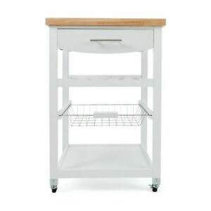 New Wooden Kitchen Utility Trolley Cart Drawer 2 Shelves Cabinet Rack White F5