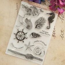 Ocean Mermaid Coral Seahorse Rubber Stamp Cling Diary Scrapbooking Silicone TW