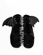 Pair of black bat wings genuine leather gothic accessory for shoes 3 eyelets