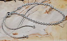"Adjustable Bolo Moon Bead Bracelet  .925 Sterling Silver 5"" to 9.25"""