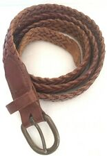"""NORDSTROM Men's Brown Leather Braided Woven Belt 40"""""""