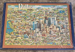 NEW! City Of Dallas Puzzle Jigsaw 5O4 Pieces Buffalo Games Vintage 1988 Sealed!