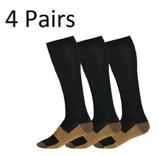 Copper Compression Socks 20-30mmHg Graduated Support Men's Women's 4 Pairs S-XXL