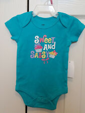 "Baby Girl ""Sweet and Sassy"" Attitude Creeper Vibrant Teal - newborn"
