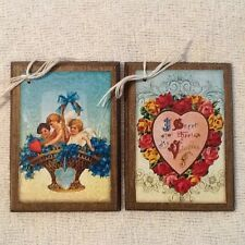 5 Handcrafted Wooden Vintage-Style Valentine Ornaments/HangTags/GiftTags Set71E