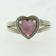 Estate Womens Sterling Silver 925 Natural Heart Pink Topaz & Diamond Ladys Ring