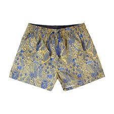 Costume da Bagno Uomo Giallo Fantasia Blu Pantaloncini Mare Boxer Corto Laccetti